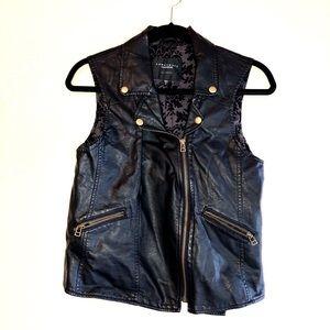 SANCTUARY Black Faux Leather Moto Vest S